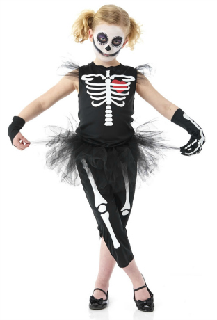 Punky Skeleton Halloween Costume for Girls