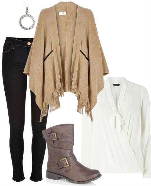 Autumn Outfit with Beige Knitted Cape