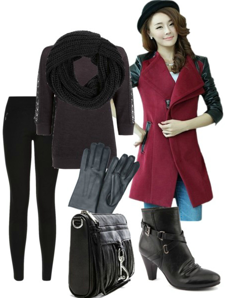 Autumn Outfit with Wine Coloured Coat