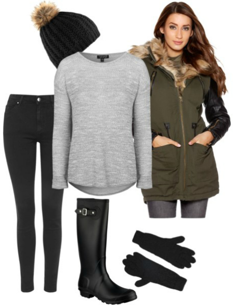 Autumn Outfit with Black Cable Knit Pom Pom Hat