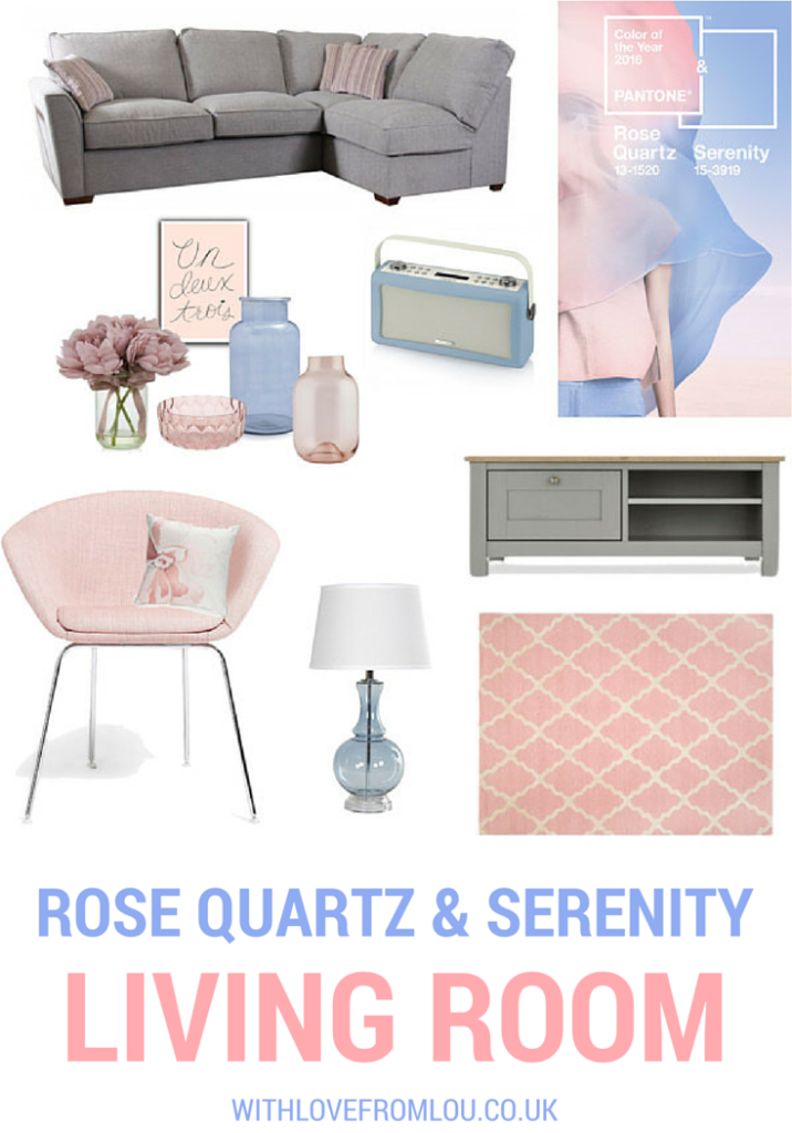 Rose Quartz and Serenity Living Room Inspiration