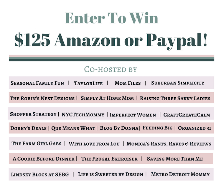 Enter to win $125 Amazon or PayPal