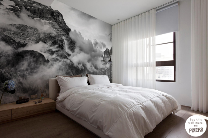 Mountains and Clouds Wall Mural from Pixers