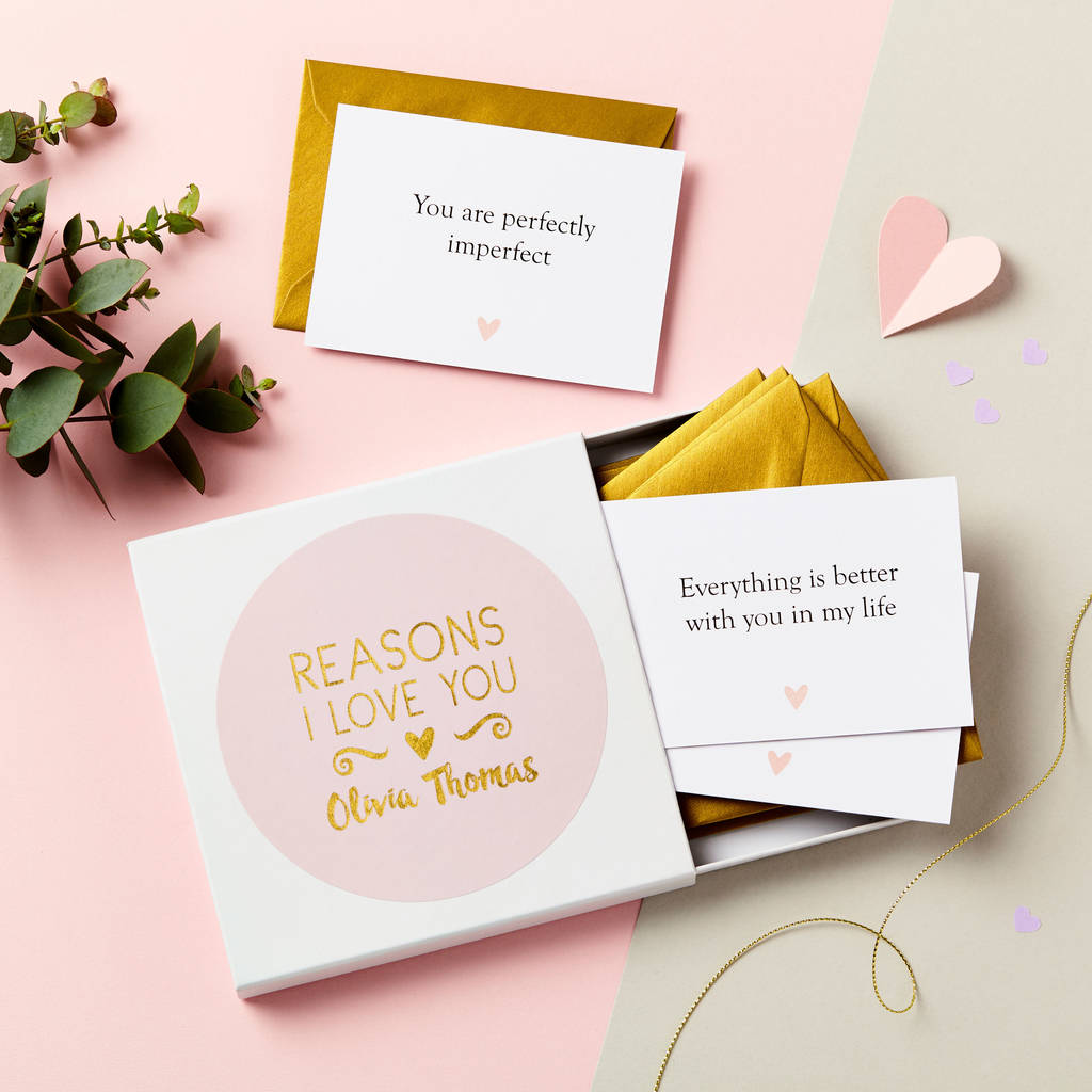 Personalised Foiled Reasons I Love You Notes