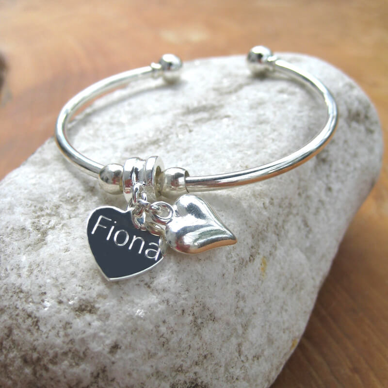 Personalised Puff Heart Bracelet