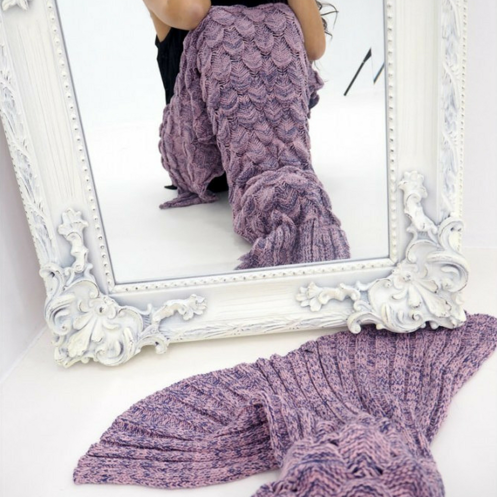Pink Luxe Knitted Mermaid Blanket