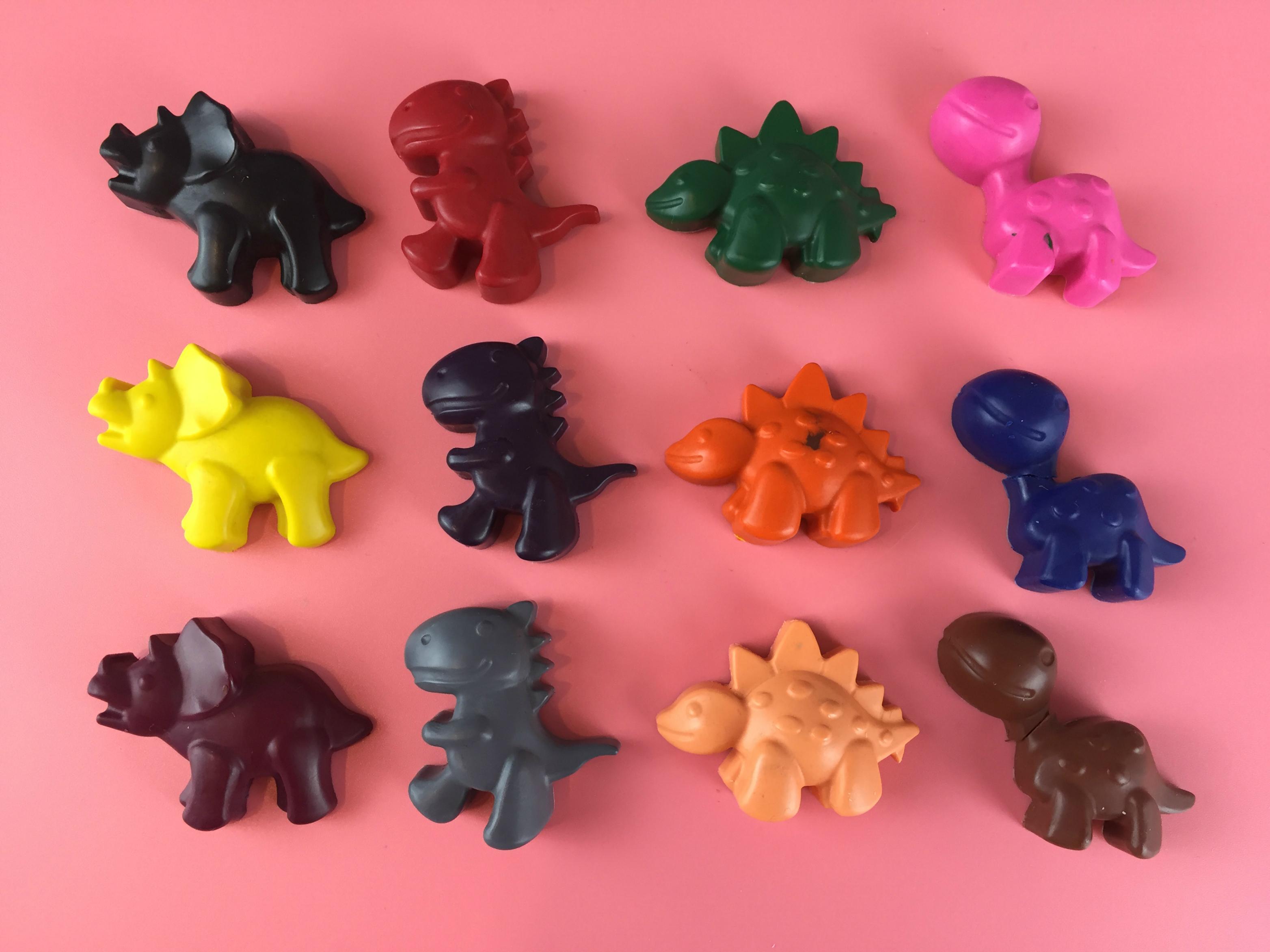 Finished Dinosaur Shaped Crayons