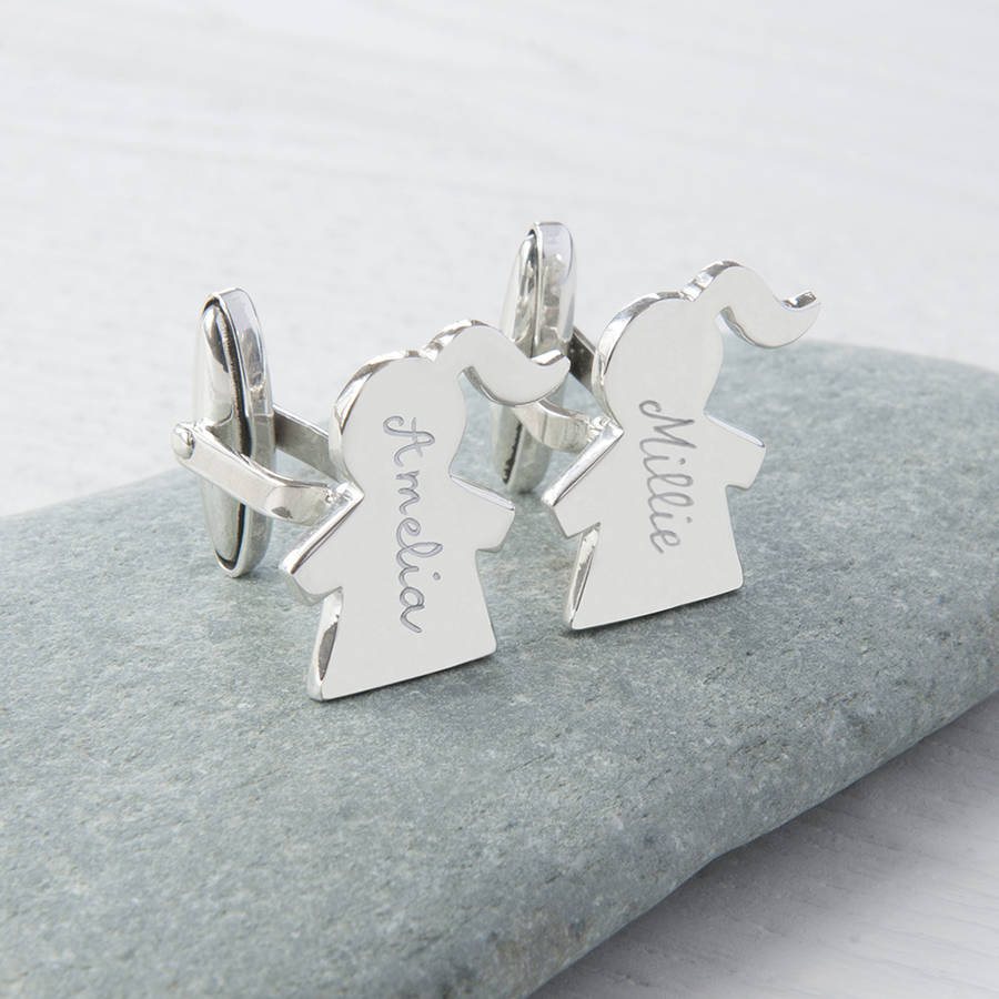 Personalised Sterling Silver People Cufflinks