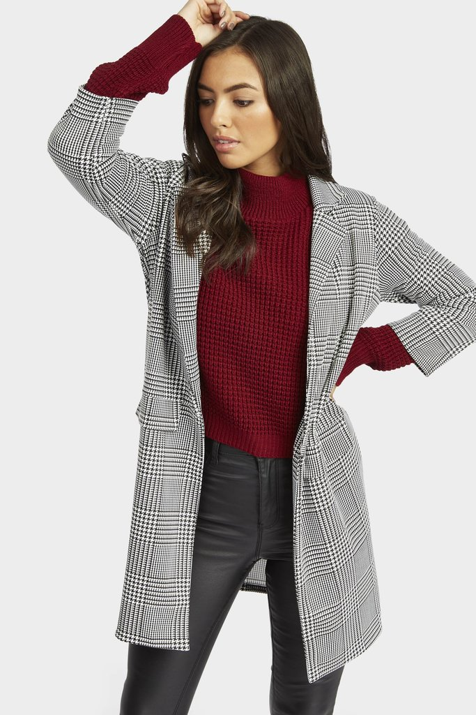 Multi Checked Longline Blazer