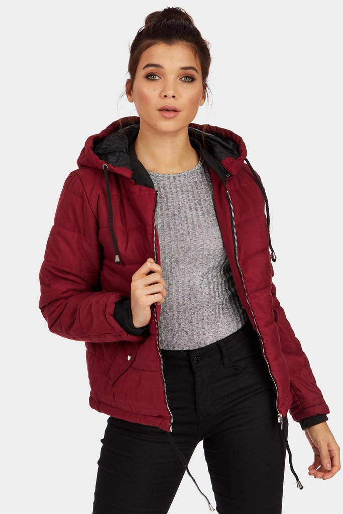 Wine Quilted Hooded Jacket