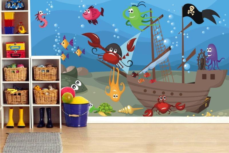 Sunken Pirate Ship Wall Mural