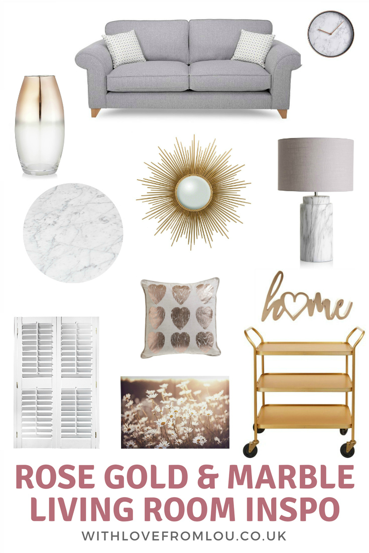 Rose Gold & Marble Living Room Inspiration