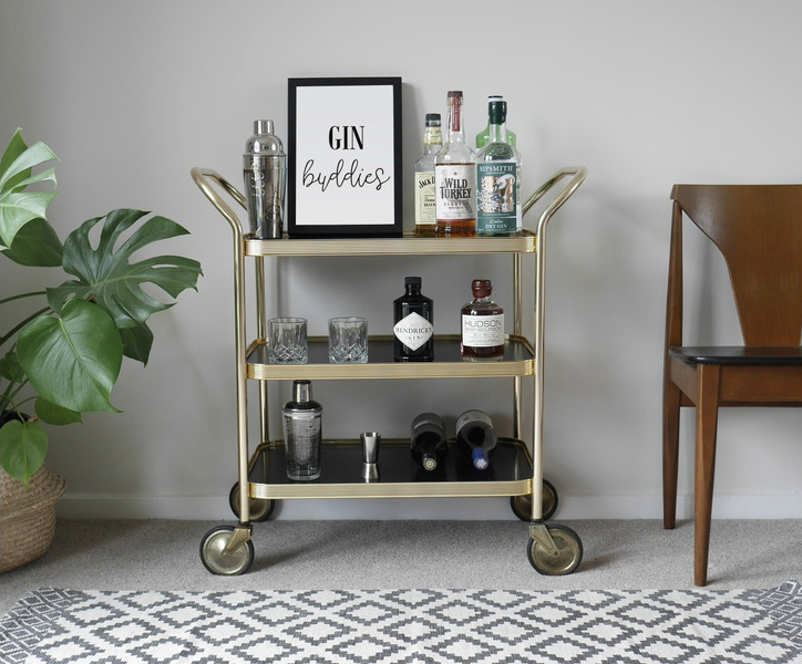 3 Tiered Gold Trolley/Bar Cart