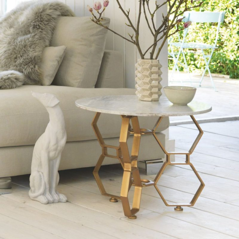 Hex Side Table with Marble Top