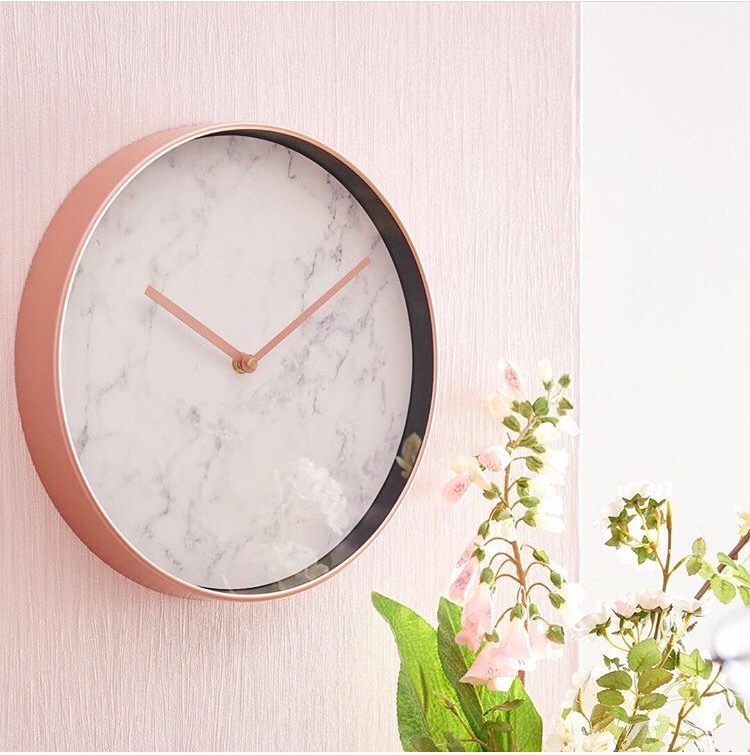 Marble & Copper Effect Wall Clock