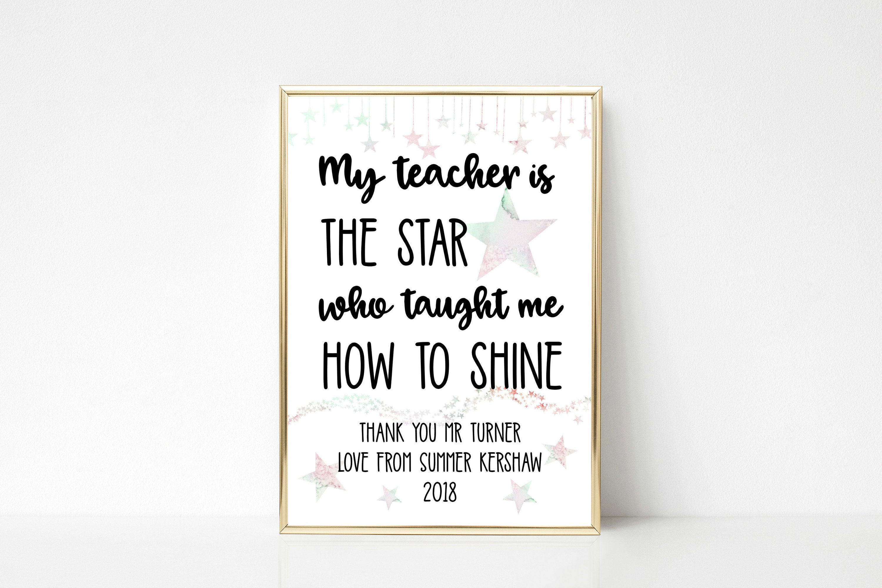 Personalised My Teacher Is The Star Who Taught Me How To Shine Wall Art