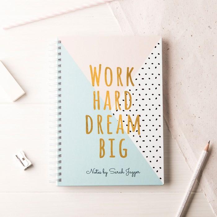 Personalised Work Hard Dream Big Notebook
