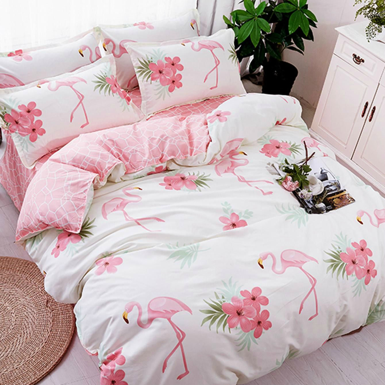 Romwe Flamingo Print Duvet Cover Set
