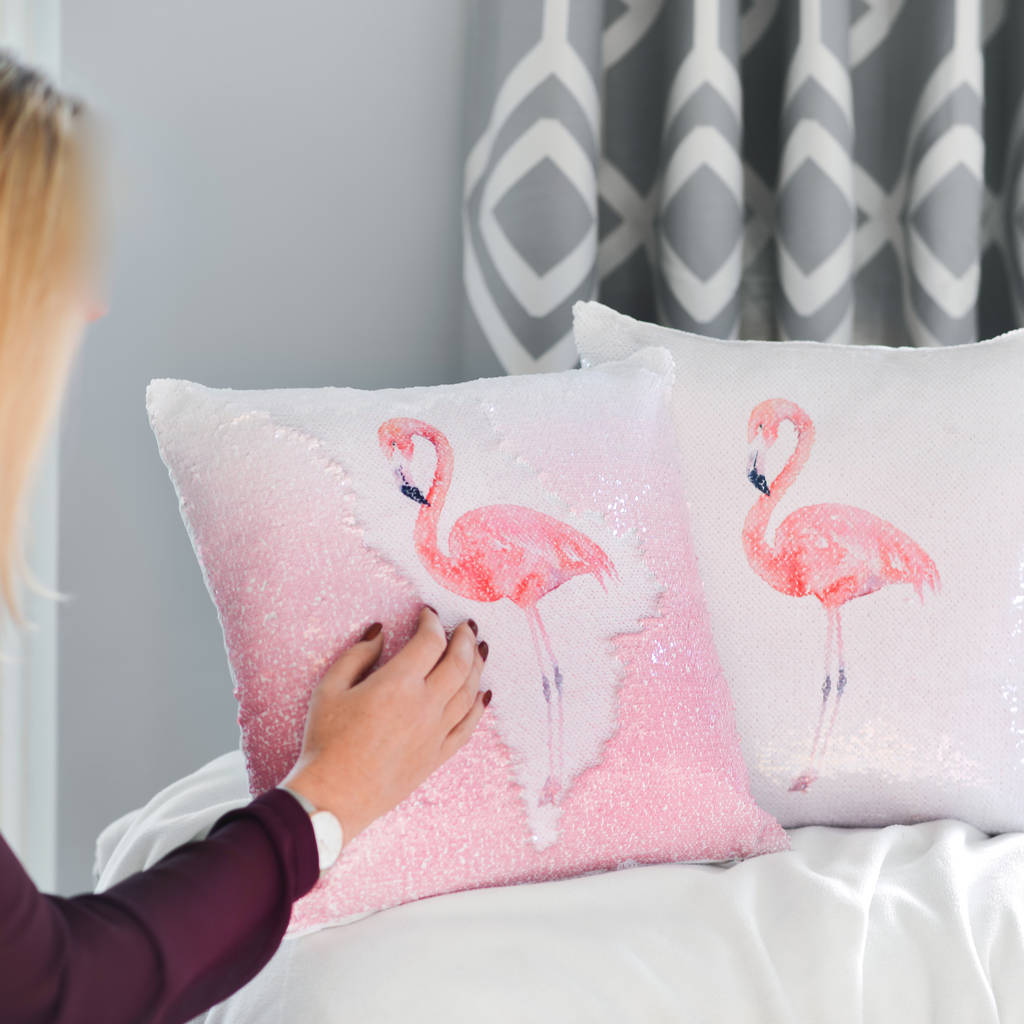 Sequin Reveal Flamingo Cushion
