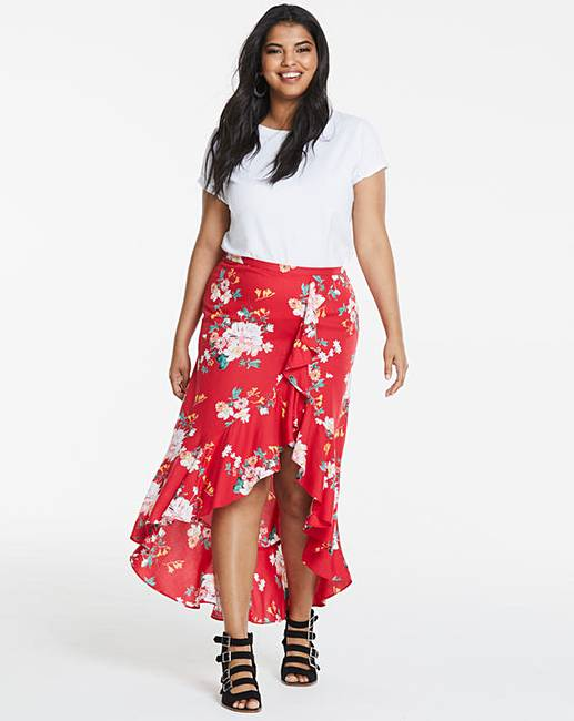 Simply Be Printed Wrap Skirt