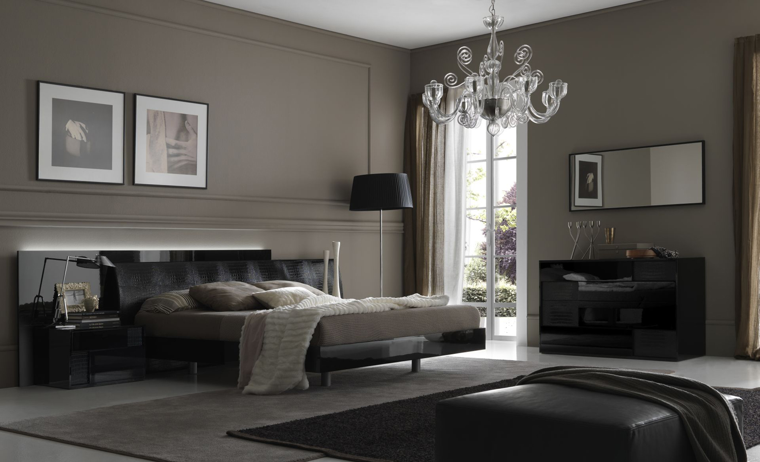 Beautiful bedroom with the skirting boards painted the same colour as the walls