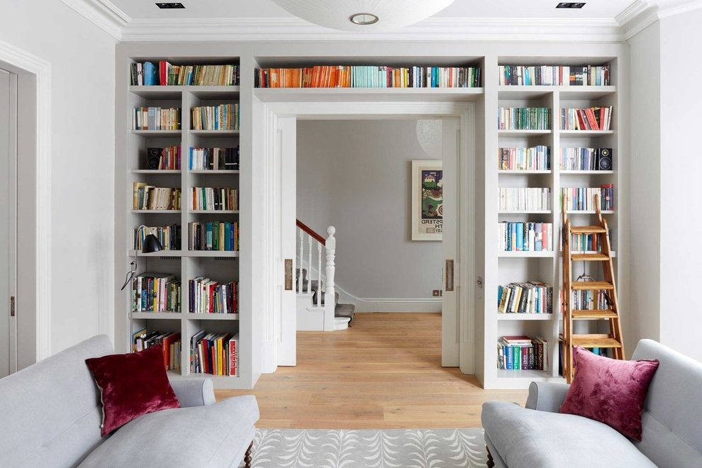 Bookshelves Above and Around a Doorway