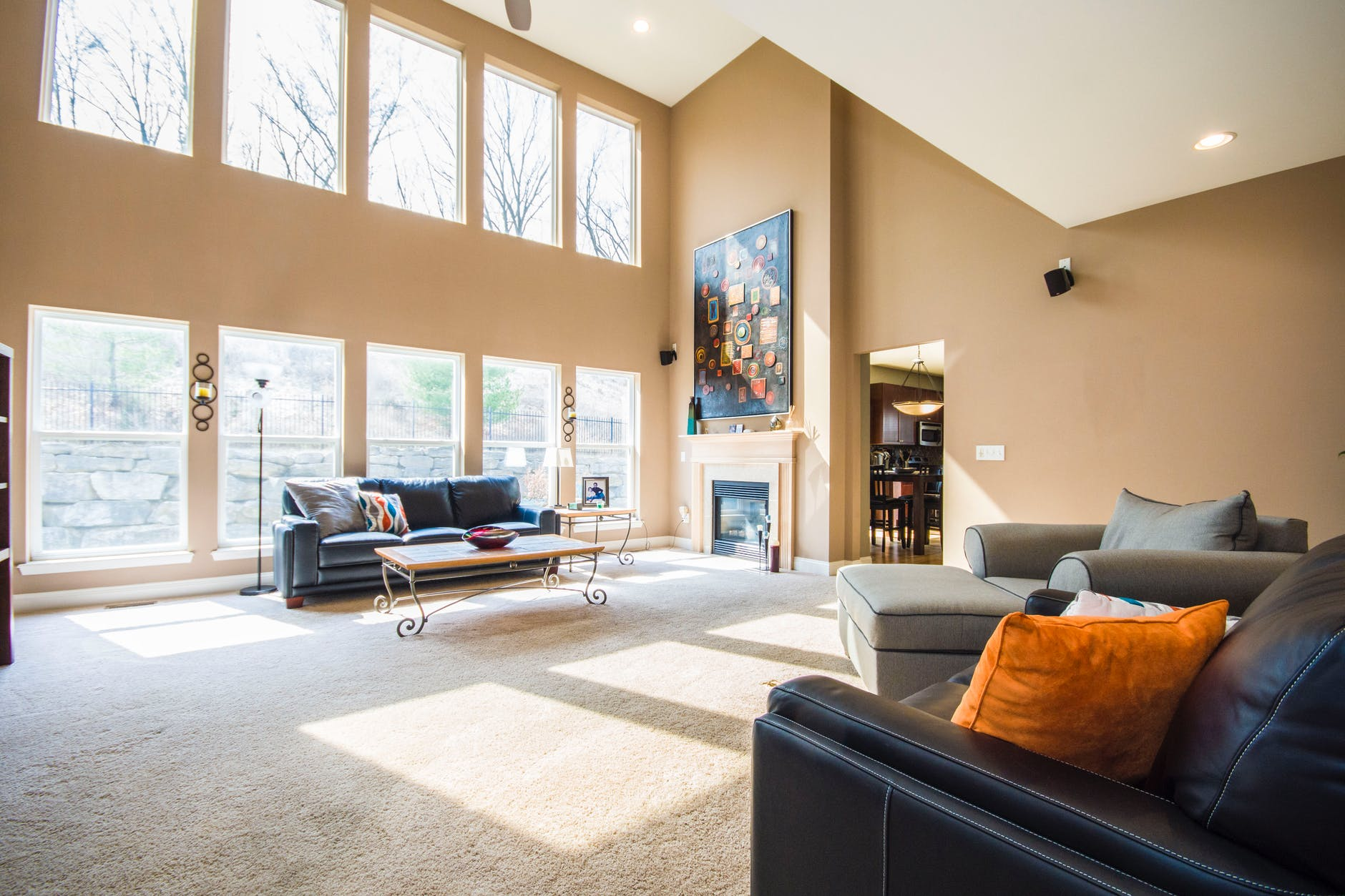 Bright, spacious living room with lots of windows