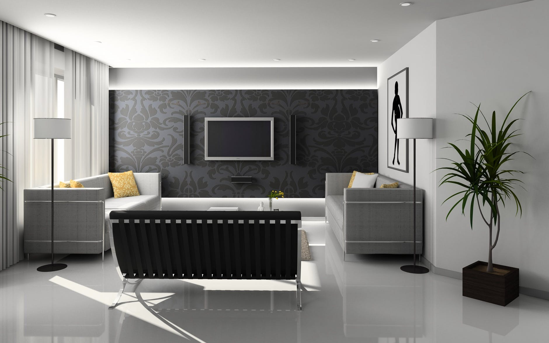 Beautiful, bright living room