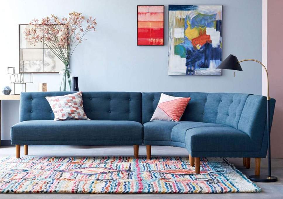 Bold coloured corner sofa