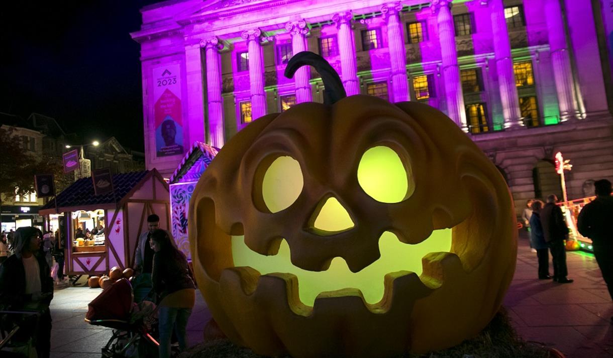 Giant light-up pumpkin on Nottingham's Old Market Square
