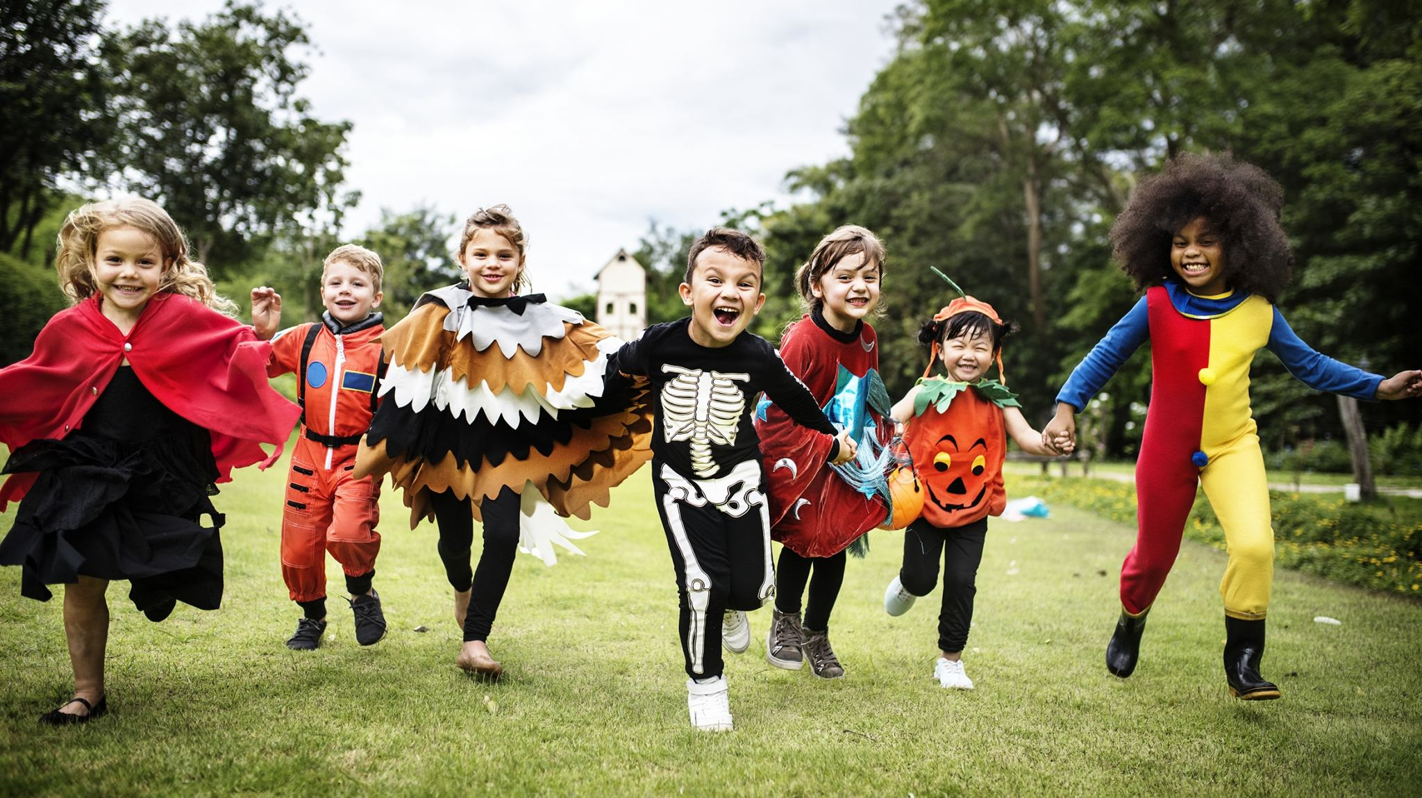 Large group of kids dressed up for Halloween