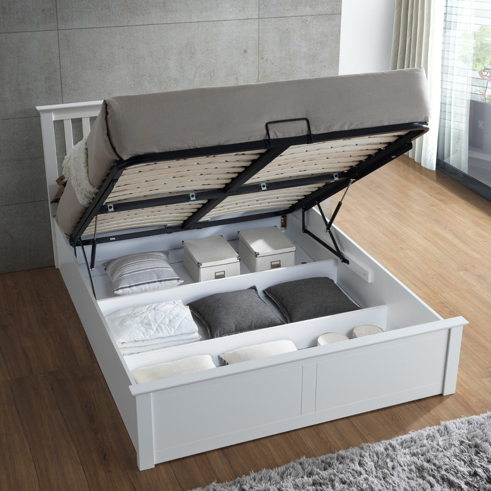 Beautiful White Wooden Ottoman Bed