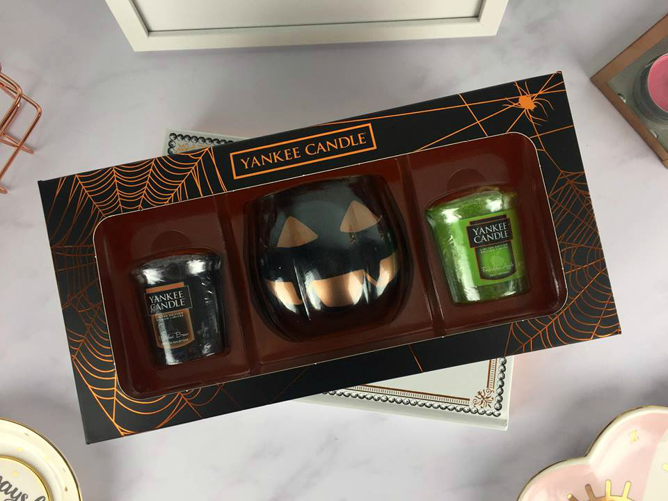 Yankee Candle Halloween Box Set with Pumpkin Votive Holder and Two Samplers