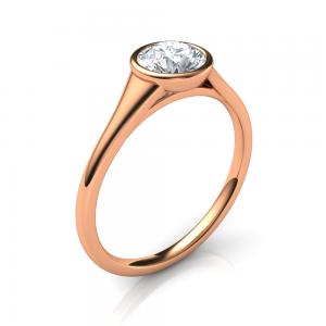 Bezel set low-profile engagement ring rose gold
