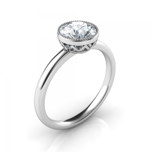 Bezel set low-profile engagement ring silver