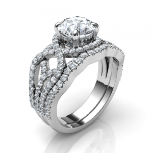 Swirl low-profile engagement ring