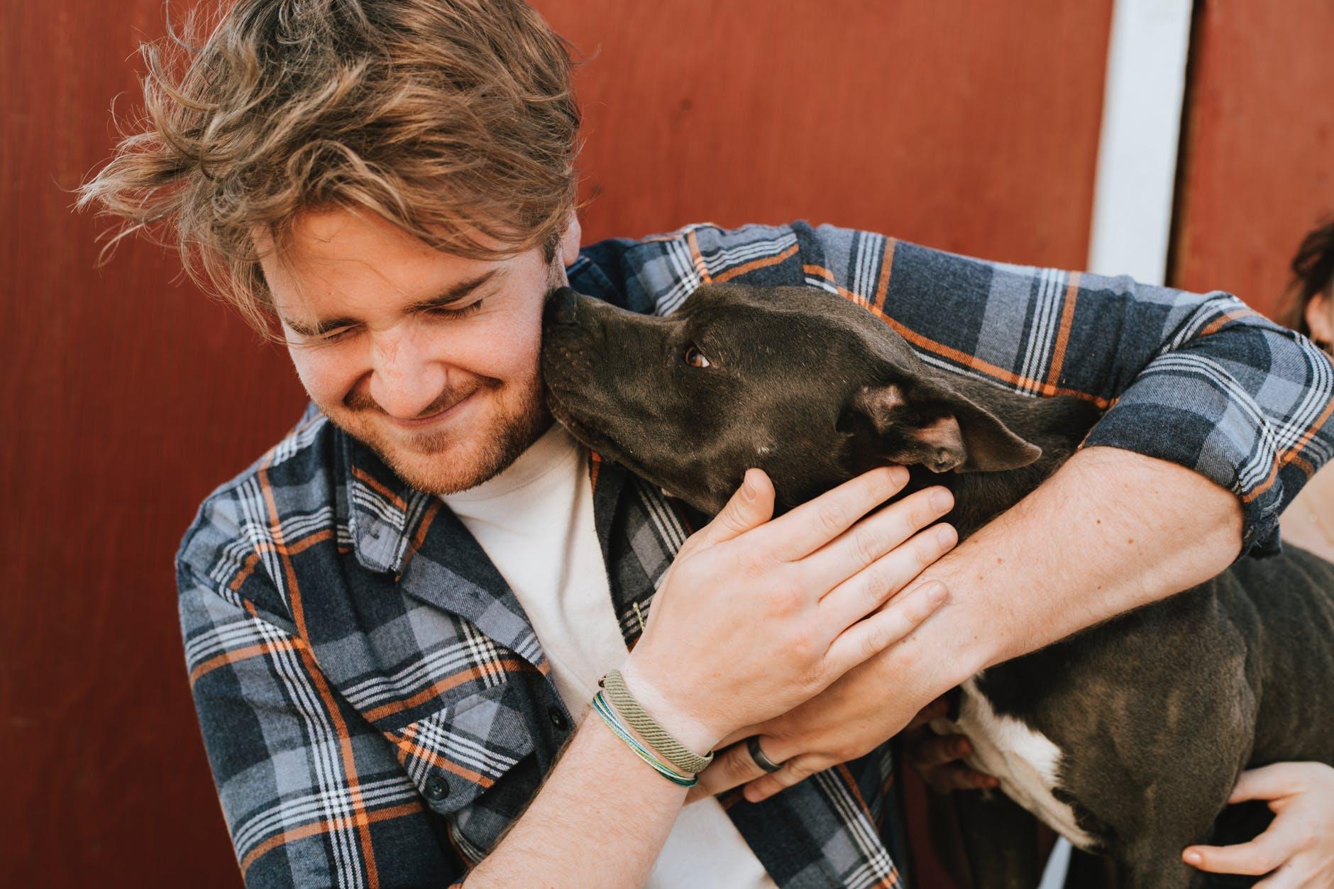 Man hugging a pit bull terrier