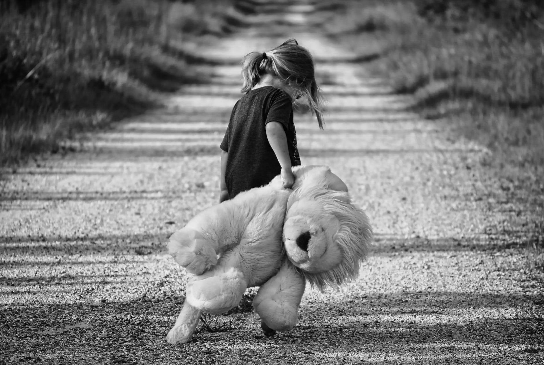 Black and white photo of a little girl walking down a path with her giant teddy bear